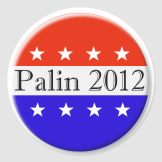 Palin 2012 red white and blue button classic round sticker