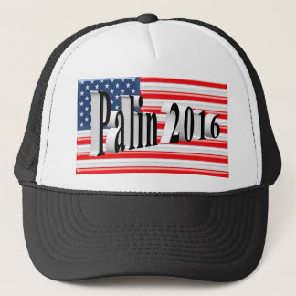 PALIN 2016 Cap, Black 3D, Old Glory Trucker Hat