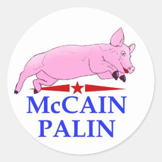 Palin McCain, Pig Lipstick Round Sticker