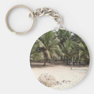 Palm Beach Front Basic Round Button Keychain