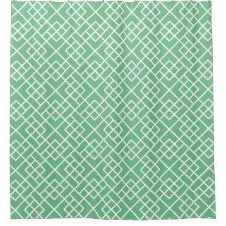 Palm Beach Green Geometric Bamboo Lattice Pattern