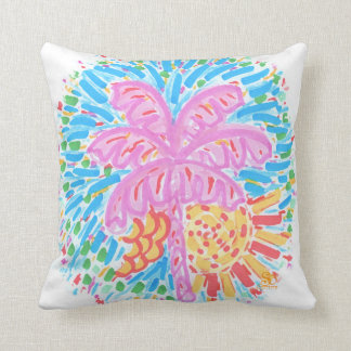 Palm Beach Pink Banana Tree Throw Pillow