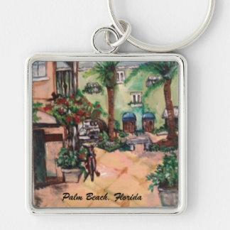 Palm Beach Street Painting Key Chain