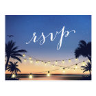 Palm Beach String Lights Summer Sunset RSVP Reply Postcard