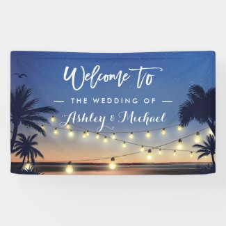Palm Beach String Lights Summer Wedding Party Banner