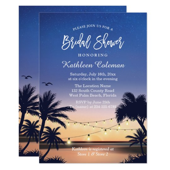 Palm Beach Sunset String Lights Bridal Shower Card