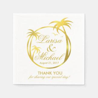 Palm Beach Tropical Logo   faux gold foil Napkin