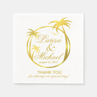 Palm Beach Tropical Logo | faux gold foil Paper Napkin