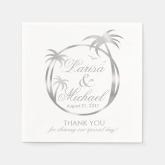 Palm Beach Tropical Logo | faux silver foil Paper Napkin