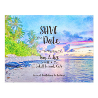 Palm Beach Watercolor Photo Save The Date Postcard