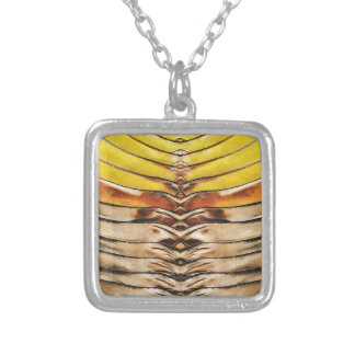 Palm Frond Leaf Macro Silver Plated Necklace