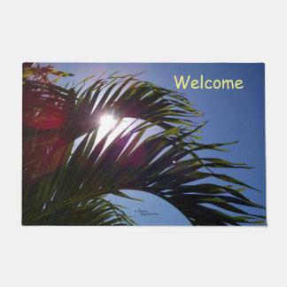 Palm fronds Sun shining Spiegeland Doormat