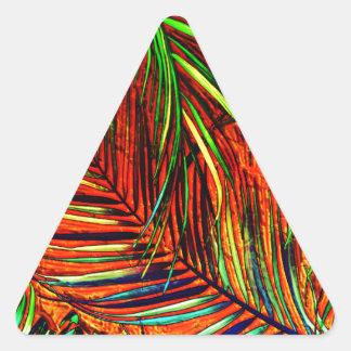 Palm Leaf Art Jungle Fire Edit Triangle Sticker