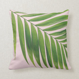 Palm Leaf Blush Pink Throw Pillow