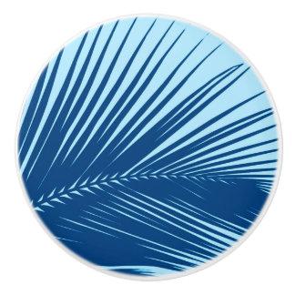 Palm leaf - cobalt and sky blue ceramic knob