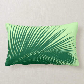Palm leaf - emerald and lime green lumbar pillow