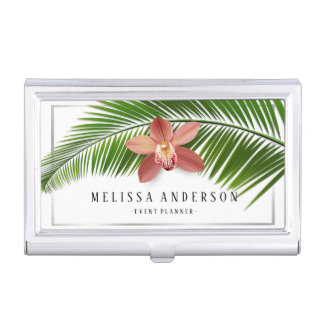 Palm Leaf & Orchid Tropical Floral Silver Framed Business Card Holder