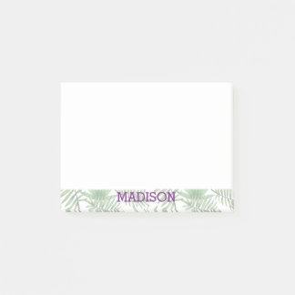 Palm Leaf Pattern And Purple Name Post-it Notes