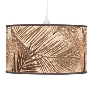 Palm Leaf Print, Dark Brown, Tan and Beige Pendant Lamp