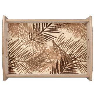 Palm Leaf Print, Dark Brown, Tan and Beige Serving Tray