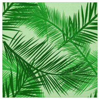 Palm Leaf Print, Emerald and Light Lime Green Fabric