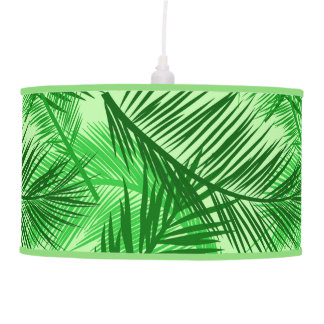 Palm Leaf Print, Emerald and Light Lime Green Pendant Lamp