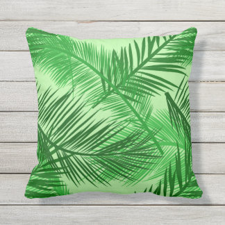 Palm Leaf Print, Emerald and Light Lime Green Throw Pillow