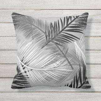 Palm Leaf Print, Grey / Gray, Black and White Throw Pillow
