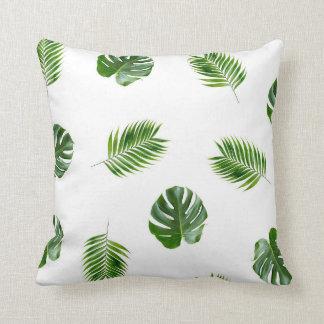 Palm Leaf Print Throw Pillow