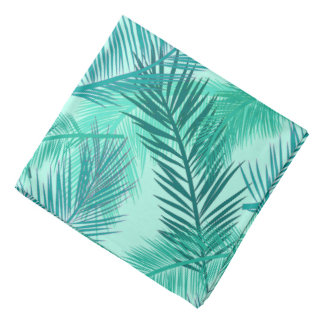 Palm Leaf Print, Turquoise, Teal and Light Aqua Bandana