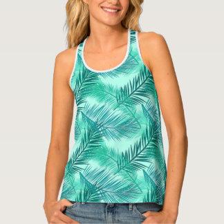 Palm Leaf Print, Turquoise, Teal and Light Aqua Tank Top