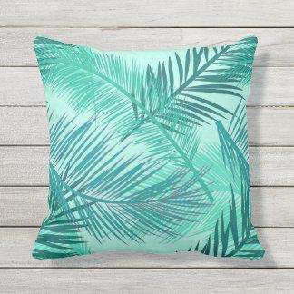 Palm Leaf Print, Turquoise, Teal and Light Aqua Throw Pillow