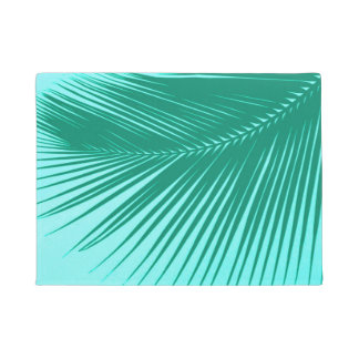 Palm leaf - Turquoise and aqua Doormat
