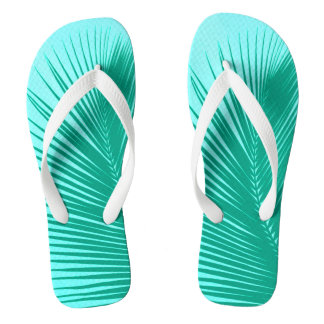 Palm leaf - Turquoise and aqua Flip Flops