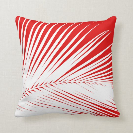Palm leaf - white and dark coral red throw pillow