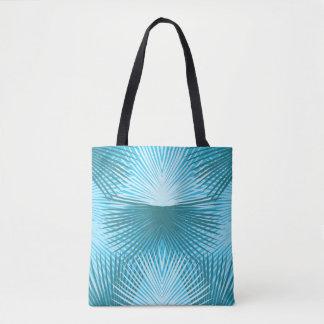 Palm Leaves Abstract Aqua Beach Bag Tote