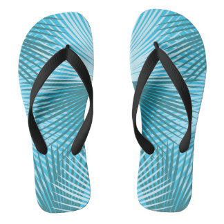 Palm Leaves Abstract Aqua Palm FF Flip Flops