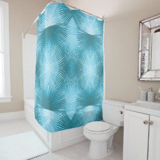 Palm Leaves Abstract Aqua Shower Curtain