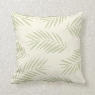 Palm Leaves Beach I Green Throw Pillow