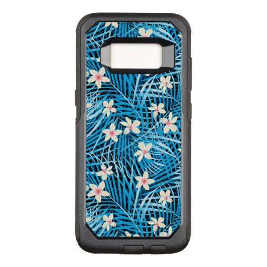 Palm Leaves Blue Pattern OtterBox Commuter Samsung Galaxy S8 Case
