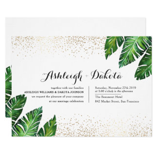 Palm Leaves & Gold Confetti on White Wedding Card