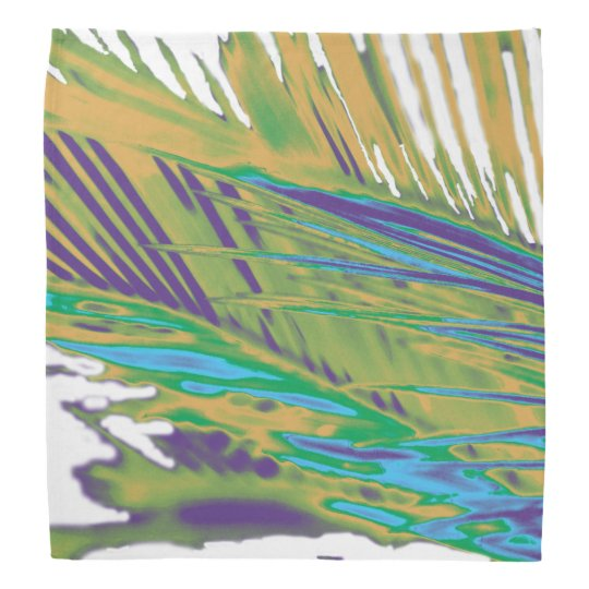 Palm Leaves Gold, Purple and Green Bandana