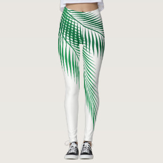 Palm Leaves on White Leggings