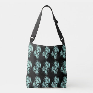 Palm Leaves Pattern #2 #Mint #Black #decor #art Crossbody Bag