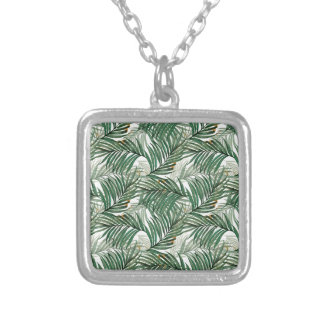 Palm leaves silver plated necklace