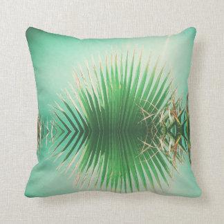 Palm Leaves Summer Beach Green Cushion Pillow