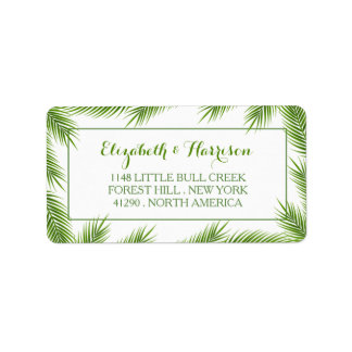 Palm Leaves Tropical Beach Wedding Label