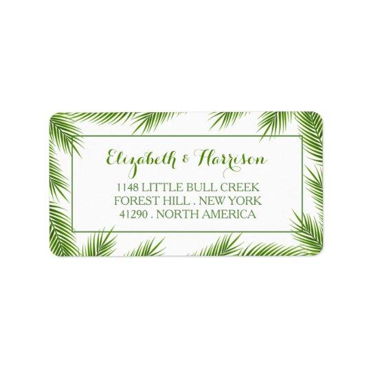 Palm Leaves Tropical Beach Wedding Label