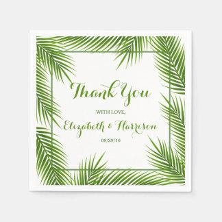 Palm Leaves Tropical Beach Wedding Paper Napkin