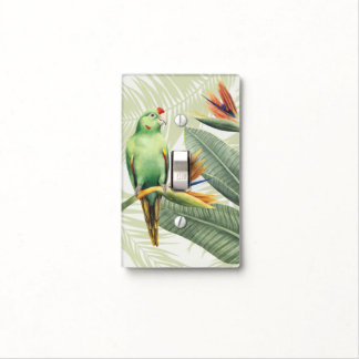 Palm Leaves With Green Bird Light Switch Cover